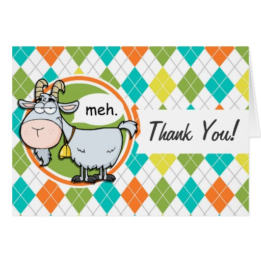 Funny Goat; Colorful Argyle Pattern Greeting Cards