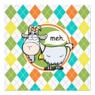 Funny Goat; Colorful Argyle Pattern Invites