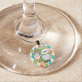 Funny Goat; Colorful Argyle Pattern Wine Charm
