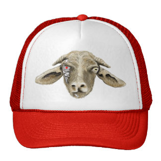 Funny goat cyborg science fiction novelty art hat