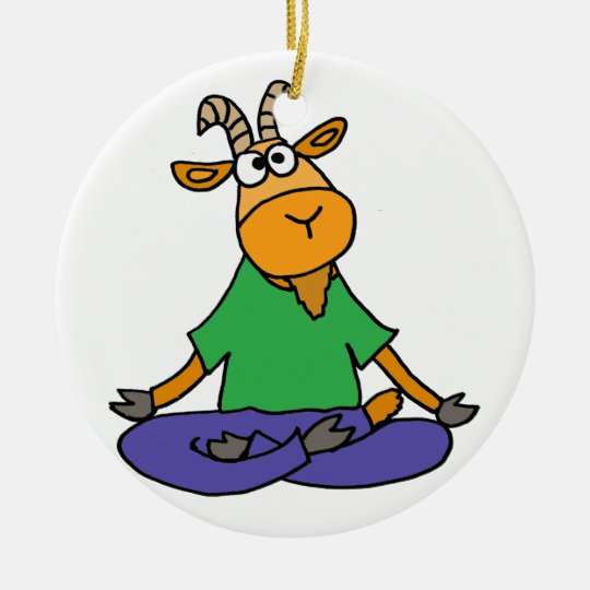 Funny Goat Doing Lotus Position Yoga Christmas Ornament