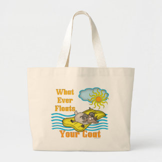 Funny Goat Floats Your Goat Large Tote Bag
