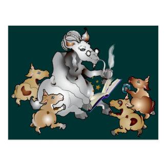 Funny Goat GrandPa GrandKids Postcard