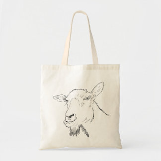 Funny Goat Line Drawing Animal Art Design Tote Bag