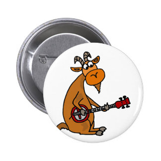 Funny Goat Playing Banjo Art 6 Cm Round Badge