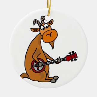 Funny Goat Playing Banjo Art Christmas Ornament