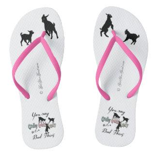 FUNNY GOAT SAYING  | Crazy Goat Lady Cool Pastels Flip Flops