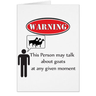 Funny Goat Warning Card
