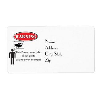 Funny Goat Warning Shipping Label