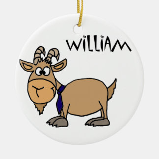 Funny Goat with Tie Named William Christmas Ornament