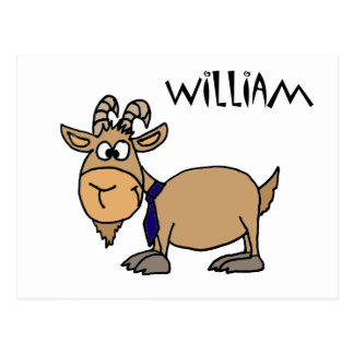 Funny Goat with Tie Named William Postcard