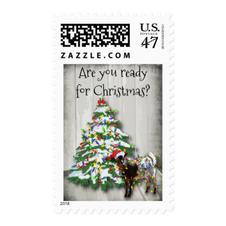 Funny Goat Wrapped up In Christmas Lights Stamp