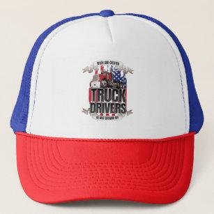 Funny God Created Truck Drivers American Flag Trucker Hat 5539f86b7a51
