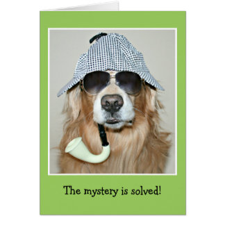 Funny Golden Retriever Detective Dog Birthday Card
