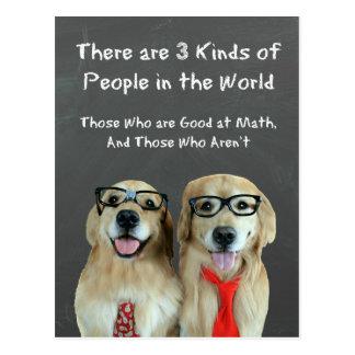 Funny Golden Retriever Math Joke Post Card