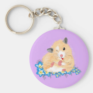 Funny Golden Syrian hamster sitting in flowers Basic Round Button Key Ring