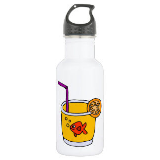 Funny Goldfish in Orange Juice Glass 532 Ml Water Bottle