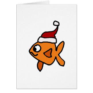 Funny Goldfish in Santa Hat Christmas Art Card