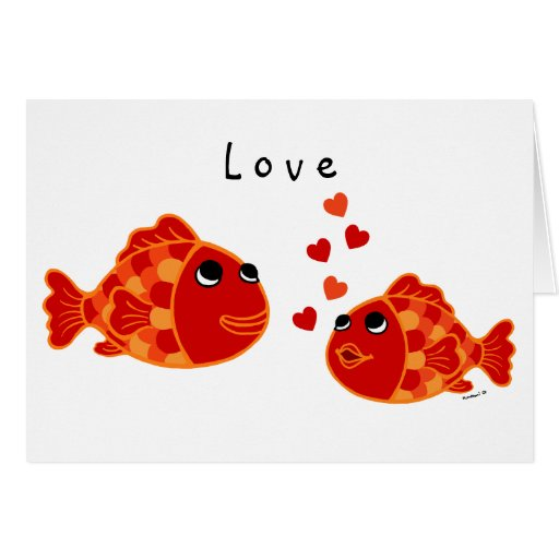 Funny Goldfish Love Cartoon Greeting Cards