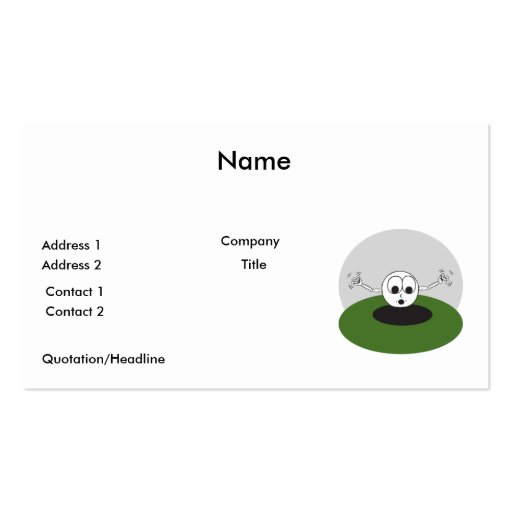 funny golf ball scared going into hole business card template