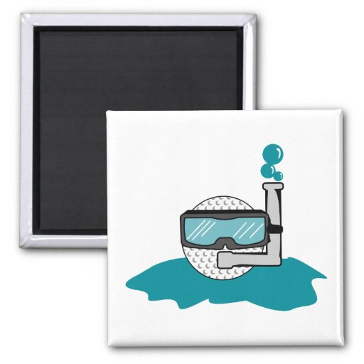 funny golf ball with snorkel fridge magnets