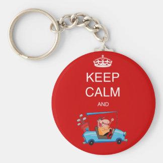 Funny GOLF. Cartoon keep calm playa golf gf Basic Round Button Key Ring