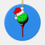 funny golf Christmas Round Ceramic Decoration