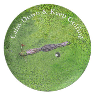FUNNY GOLF HOME GIFT, KEEP CALM & KEEP GOLFING PARTY PLATE