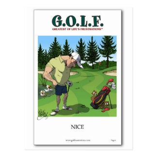 Funny golf image postcard
