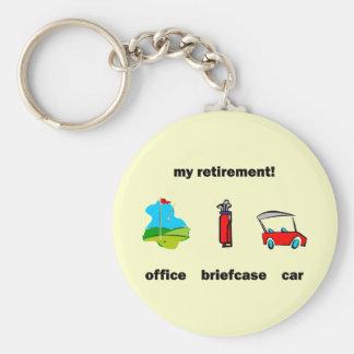 Funny golf retirement basic round button key ring