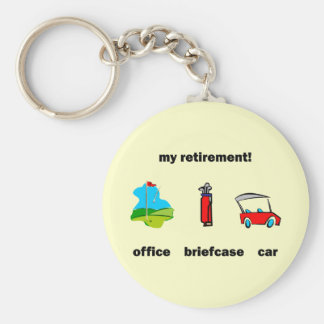 Funny golf retirement basic round button key ring