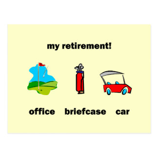Funny golf retirement postcard