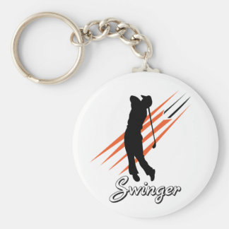 Funny Golf Swinger Basic Round Button Key Ring