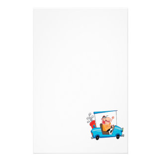 funny golfer in golf cart personalized stationery