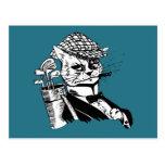 funny golfing cat postcard