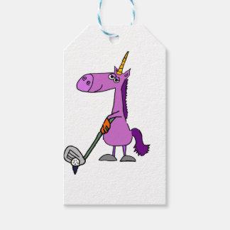 Funny Golfing Purple Unicorn Gift Tags