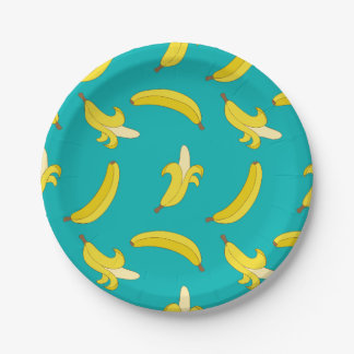 Funny Gone Bananas illustrated pattern Paper Plate
