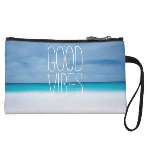 Funny good vibes tropical ocean photo hipster wristlet clutch