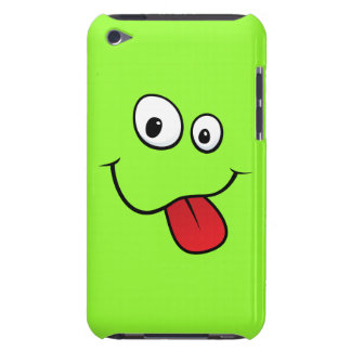 Funny goofy smiley sticking out his tongue, green iPod touch cases