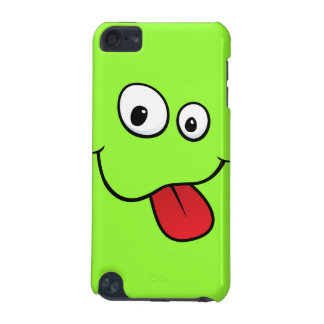 Funny goofy smiley sticking out his tongue, green iPod touch (5th generation) cover