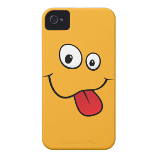 Funny goofy smiley sticking out his tongue, orange iPhone 4 Case-Mate cases