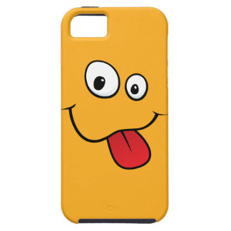 Funny goofy smiley sticking out his tongue, orange case for the iPhone 5