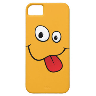 Funny goofy smiley sticking out his tongue, orange iPhone 5 case