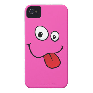 Funny goofy smiley sticking out his tongue, pink iPhone 4 case