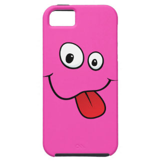 Funny goofy smiley sticking out his tongue, pink iPhone 5 covers