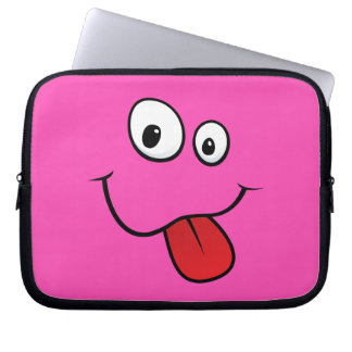 Funny goofy smiley sticking out his tongue, pink laptop computer sleeves