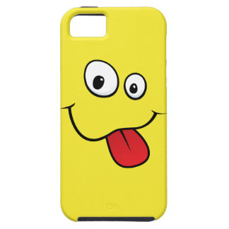Funny goofy smiley sticking out his tongue, yellow case for the iPhone 5