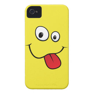 Funny goofy smiley sticking out his tongue, yellow Case-Mate iPhone 4 case