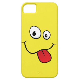 Funny goofy smiley sticking out his tongue, yellow iPhone 5 cases
