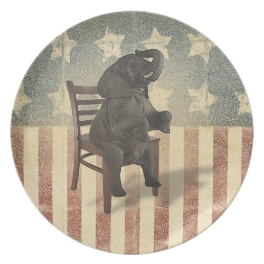 Funny GOP Elephant Takes Presidents Chair Politics Plate